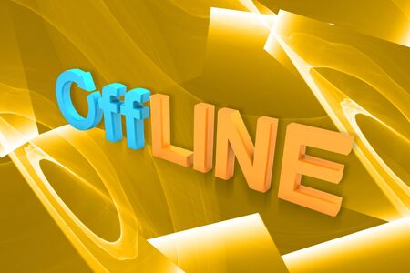 offline: 3d rendering  of offline symbol in color background