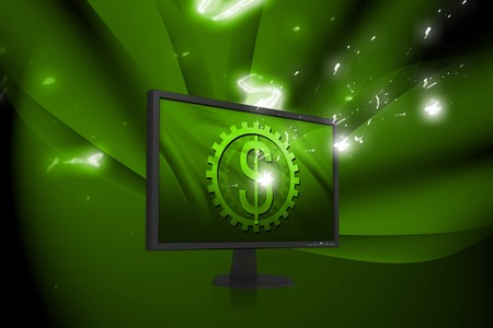 tft: Digital illustration of  tft monitor and dollar sign in color background