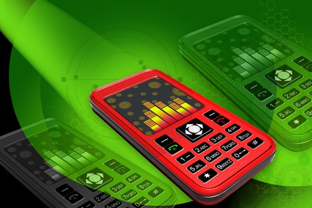 gprs: Highly quality rendering of mobile phone in digital color background Stock Photo