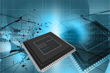 3d rendering of semiconductor in digital color background photo