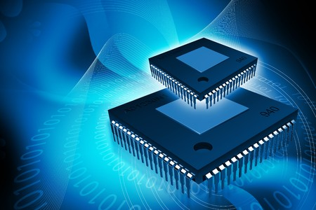data memory: Digital illustration of computer chip in isolated background