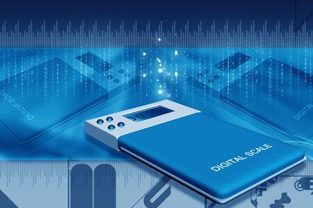 metrology: Digital illustration of digital scale in color background Stock Photo