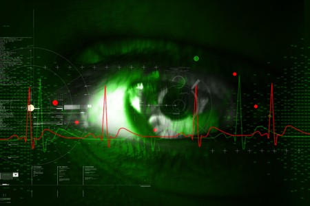 green eye:  Digital illustration of an eye scan as concept for secure digital identity  Stock Photo
