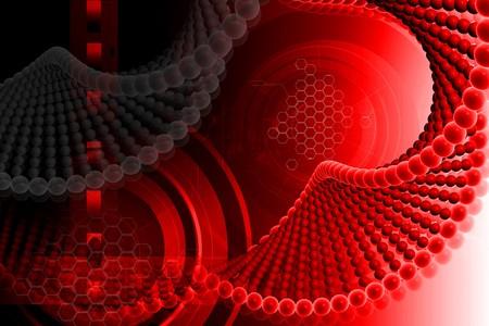 rn3d: Digital illustration of DNA in color background  Stock Photo