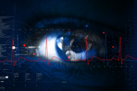 Digital illustration of an eye scan as concept for secure digital identity Stock Illustration - 7858899