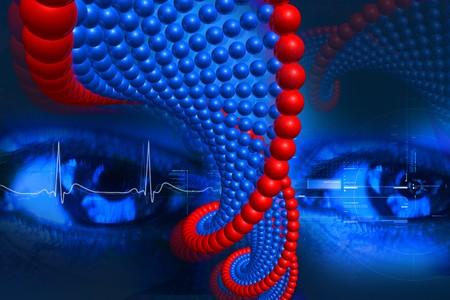 rn3d: Digital illustration of DNA and eye in color background