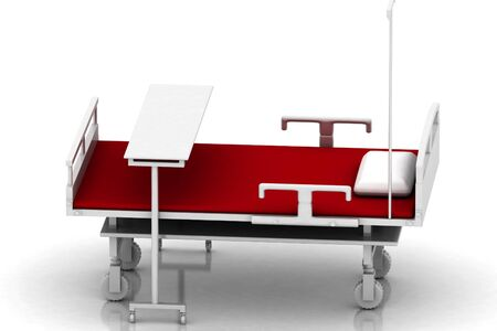 rn3d: 3d multi use hospital bed in abstract white background   Stock Photo