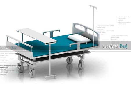 rn3d: Digital illustration of hospital bed in abstract white background  Stock Photo
