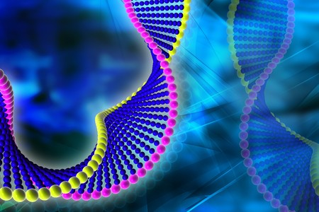 Digital illustration of DNA in color background  Stock Photo
