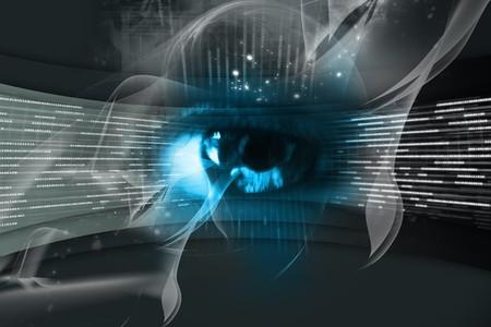 lock  futuristic:  Digital illustration of an eye scan as concept for secure digital identity