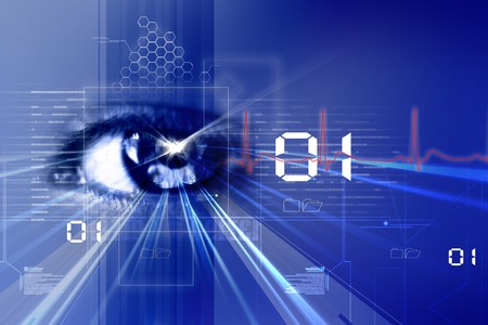 Digital illustration of an eye scan as concept for secure digital identity  illustration