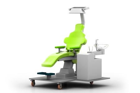 rn3d: 3d illustration dental chair in white background  Stock Photo