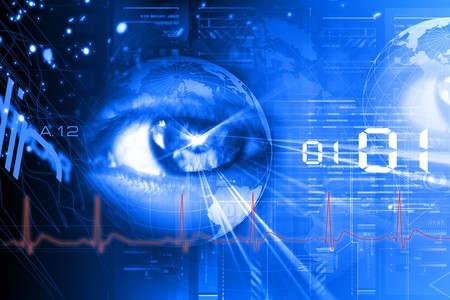 laser focus:  Digital illustration of an eye scan as concept for secure digital identity  Stock Photo