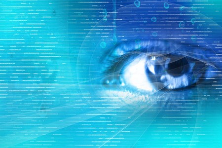 focus on:  Digital illustration of an eye scan as concept for secure digital identity  Stock Photo