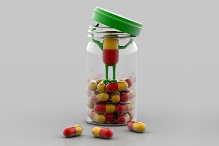 rn3d: Pills and bottle,3d rendered illustration Stock Photo