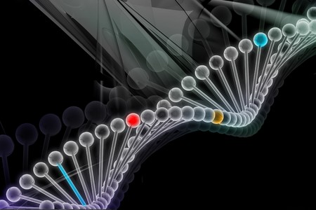 rn3d: Digital illustration of DNA in abstract background  Stock Photo