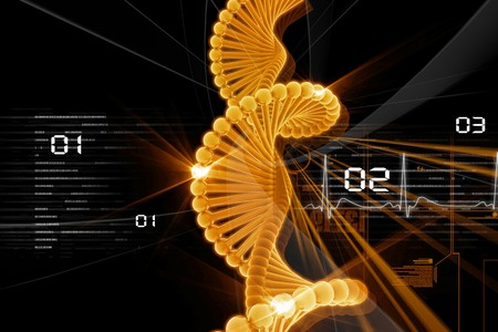 Digital illustration of DNA in abstract background  Stock Photo