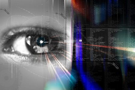 Digital illustration of an eye scan as concept for secure digital identity  Stock Photo