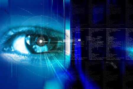 futuristic eye:  Digital illustration of an eye scan as concept for secure digital identity  Stock Photo
