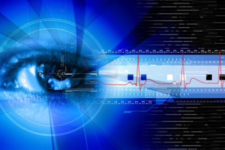 ojos azules: Ilustración digital de un análisis de ojo como concepto de identidad digital seguro