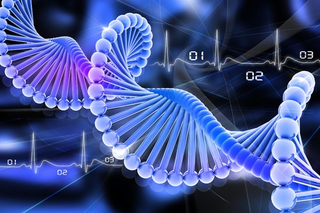 nucleotides: ADN 3D en el fondo de color  Foto de archivo