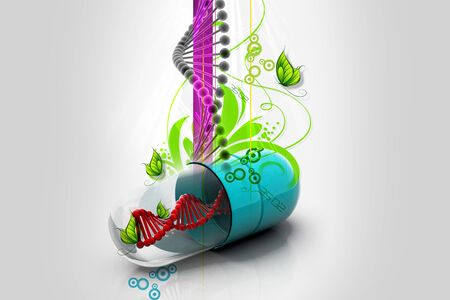 Capsule with dna in abstract background  photo