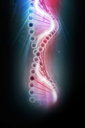 g�n�tique: ADN 3D en arri�re-plan de couleur