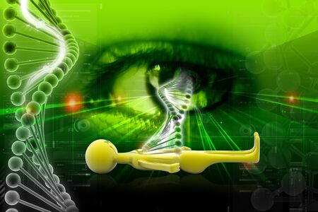 genetic: Digital illustration of DNA and eye in color background