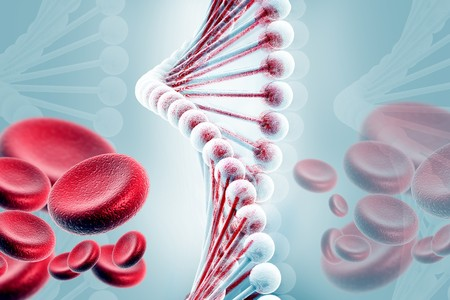 adenine: DNA with blood cells    Stock Photo