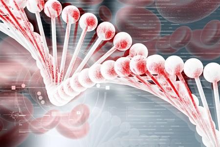blutzellen: 3D Dna mit Blutzellen in farbiger Hintergrund