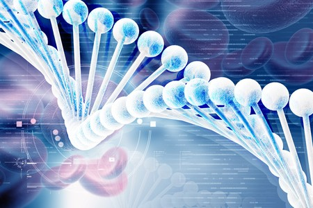 3d dna with blood cells in color background photo