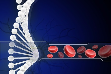 3d dna with blood cell in digital design  photo