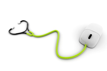 medical assistant: Conceptual stethoscope with a computer mouse  Stock Photo