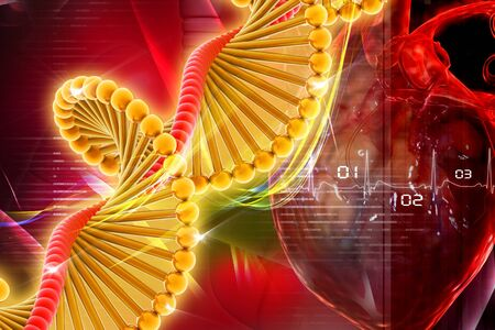 dna graph: Dna with heart in digital design Stock Photo