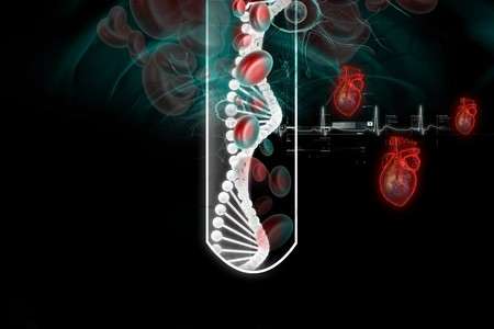 nucleotides: dna and  blood cell in test-tube