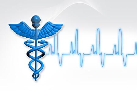 caduceus medical symbol: Symbol of medicine with ECG