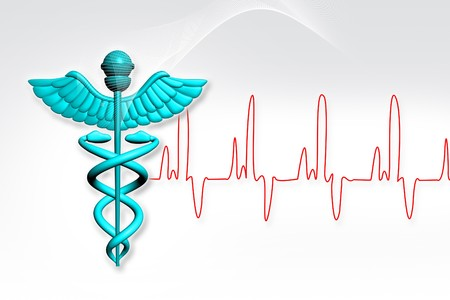Symbol of medicine with ECG Stock Photo - 8068002
