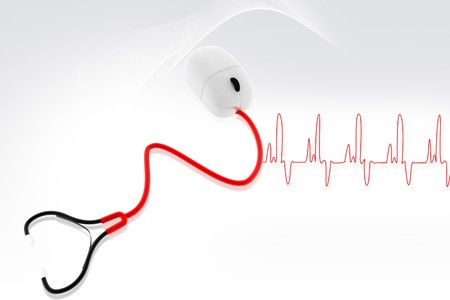 medical assistant: Conceptual stethoscope with a computer mouse