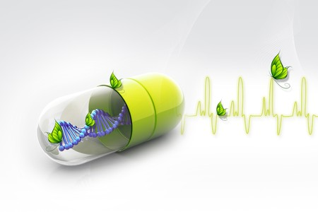 genetically modified organisms: Dna in pill  Stock Photo