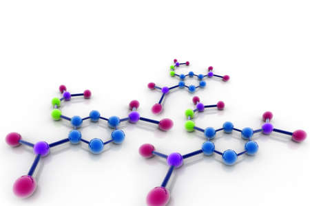 molecular model: 3d Model of a molecule from color spheres and rod  Stock Photo