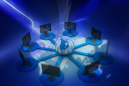 Global computer network concept in digital design Stock Photo - 8068049