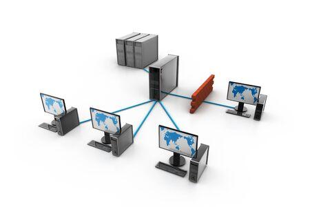 Red de informática con protección de firewall