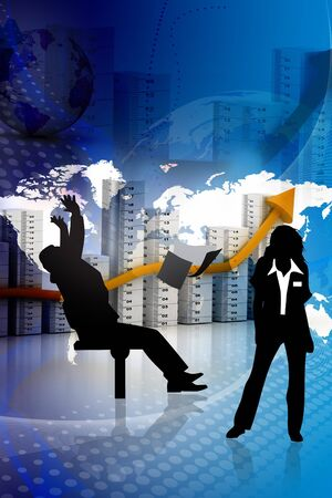Abstract business people with growth graph concept  photo