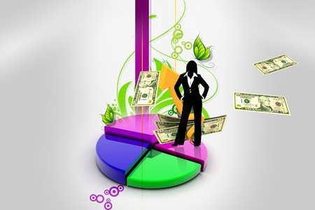3d multi use pie chart graph in abstract background with business girl Stock Photo - 8154467
