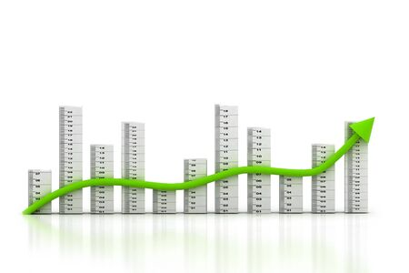 3d multi use business graph in white background  photo