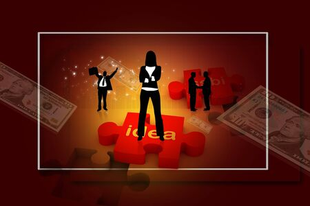 Digital concept of Business people with puzzle and dollar Stock Photo - 8154443