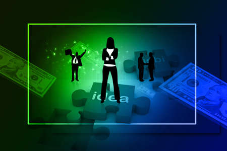 Digital concept of Business people with puzzle and dollar Stock Photo - 8154472