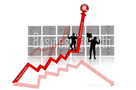 3d multi use business growth graph and business people  photo