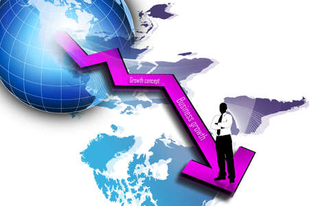 3d multi use business growth graph and business man  photo