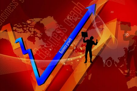 Business growth graph- success -financial, benefits and business man Stock Photo - 8154584